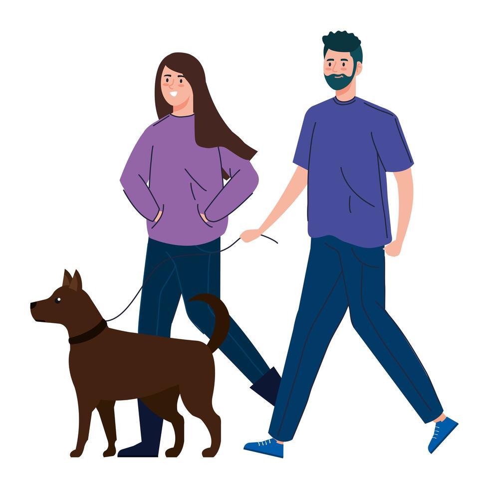 pareja paseando a su perro juntos vector