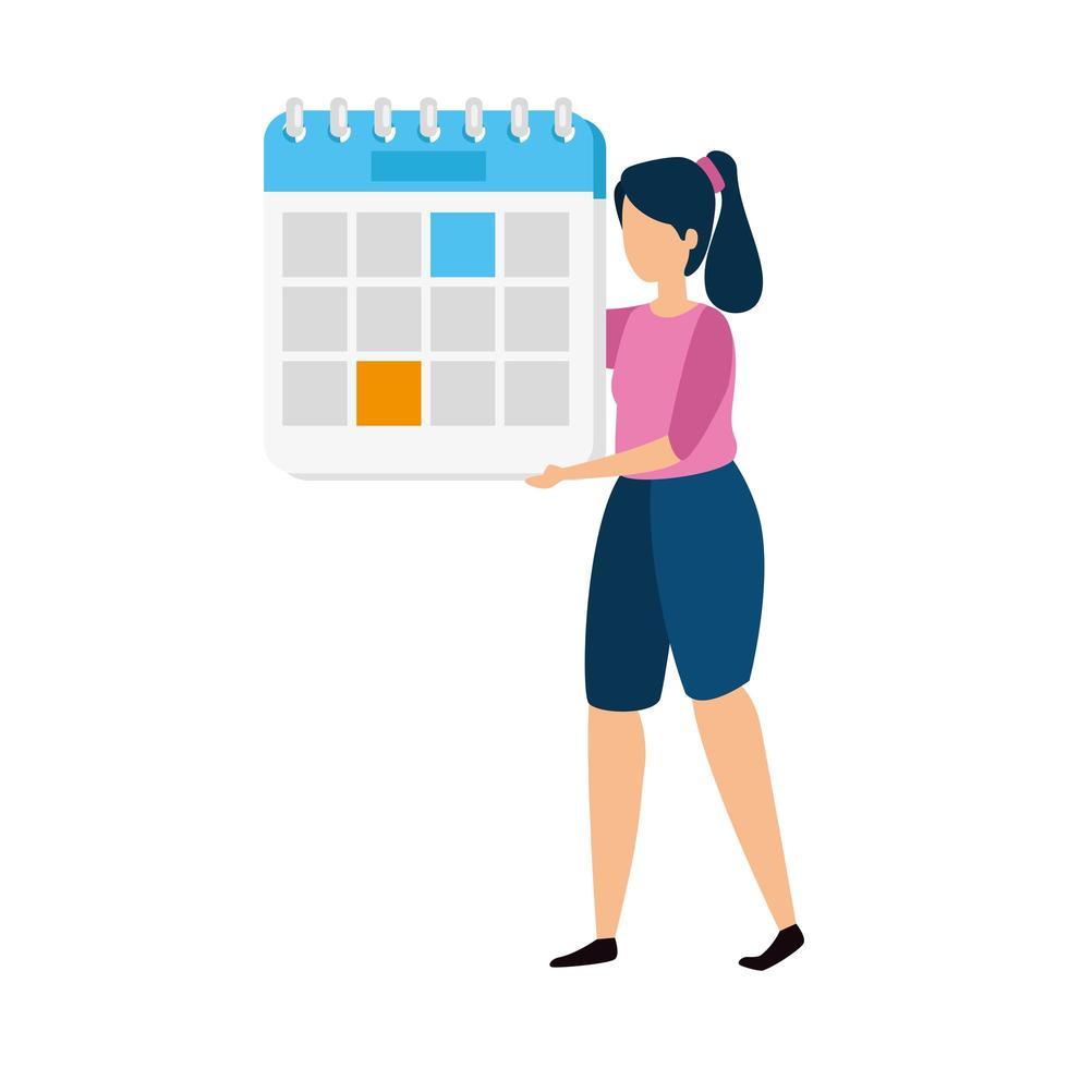 mujer con un calendario vector