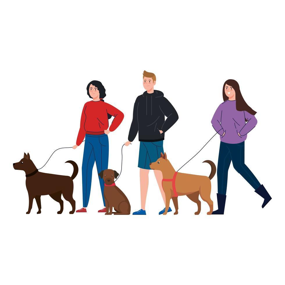 gente paseando al perro juntos vector