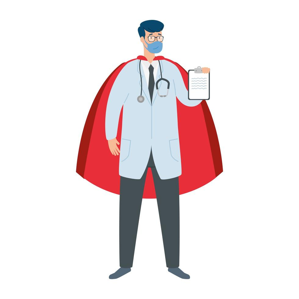 Male doctor wearing a face mask as a super hero vector