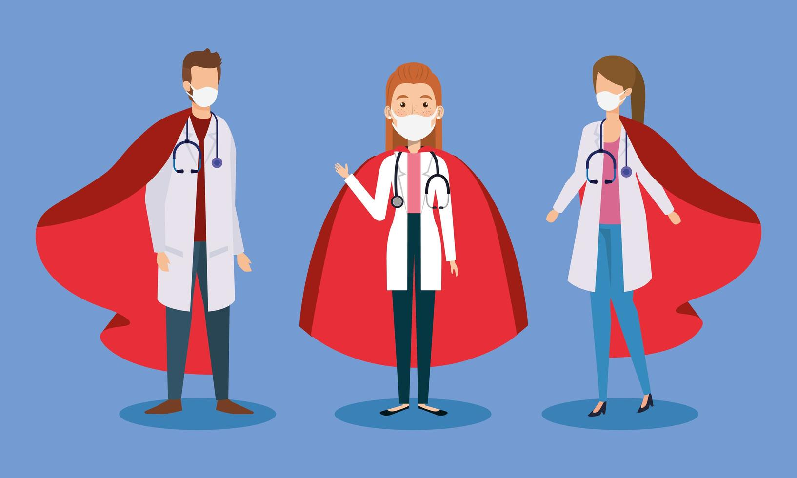 Doctors wearing face masks as super heroes vector