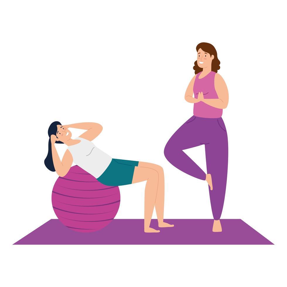 mujeres haciendo yoga y pilates juntas vector