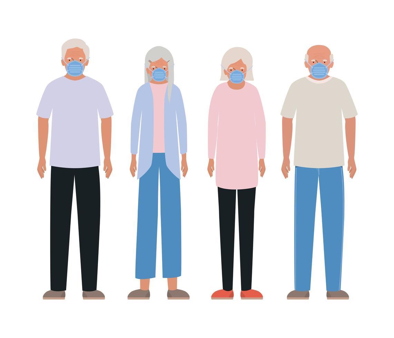 mujeres y hombres mayores con máscaras contra el diseño del covid 19 vector
