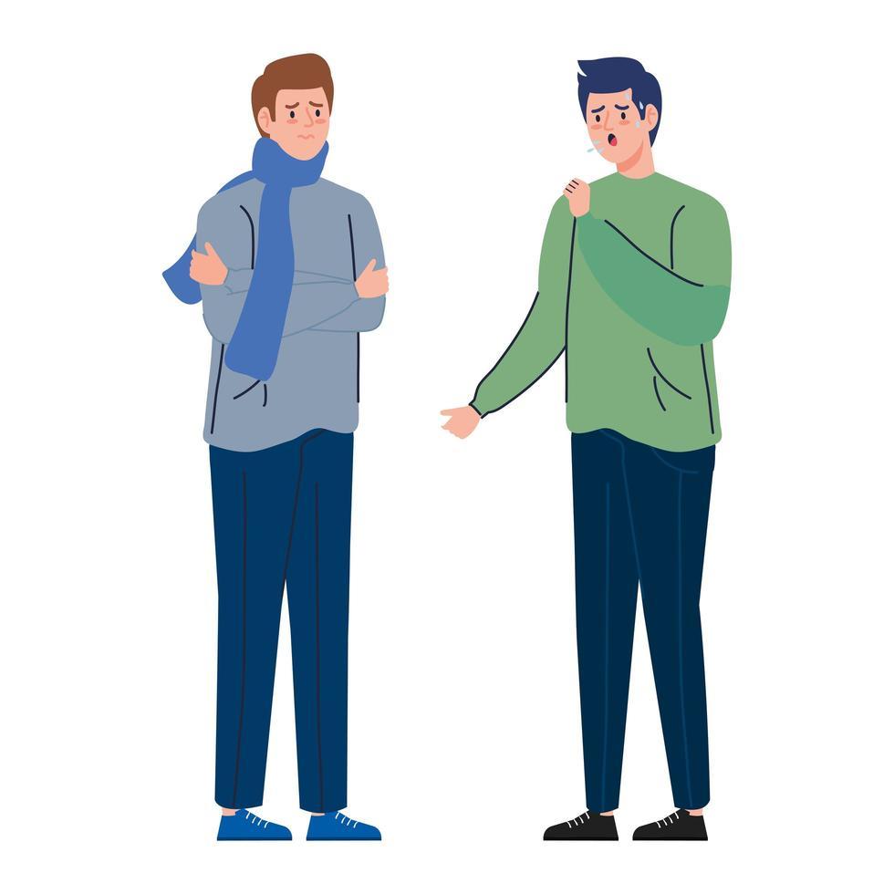 Men with coronavirus symptoms vector