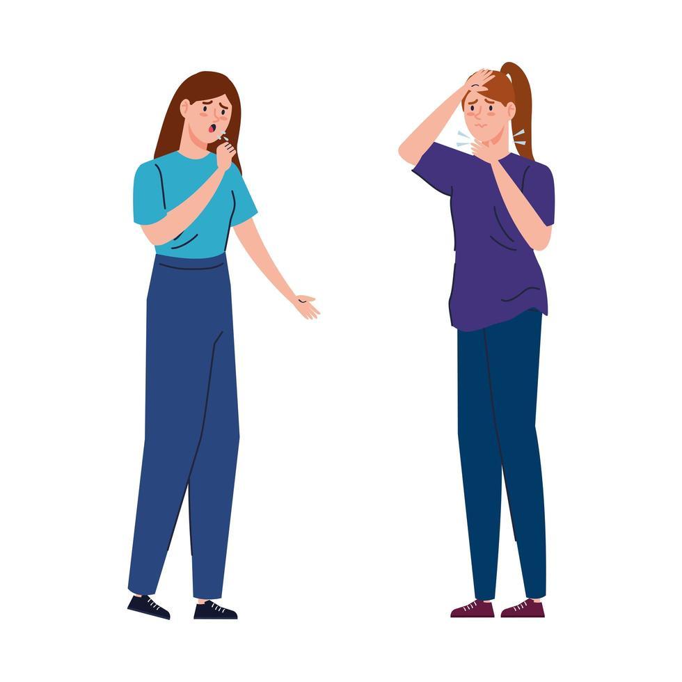 mujeres con síntomas de coronavirus vector