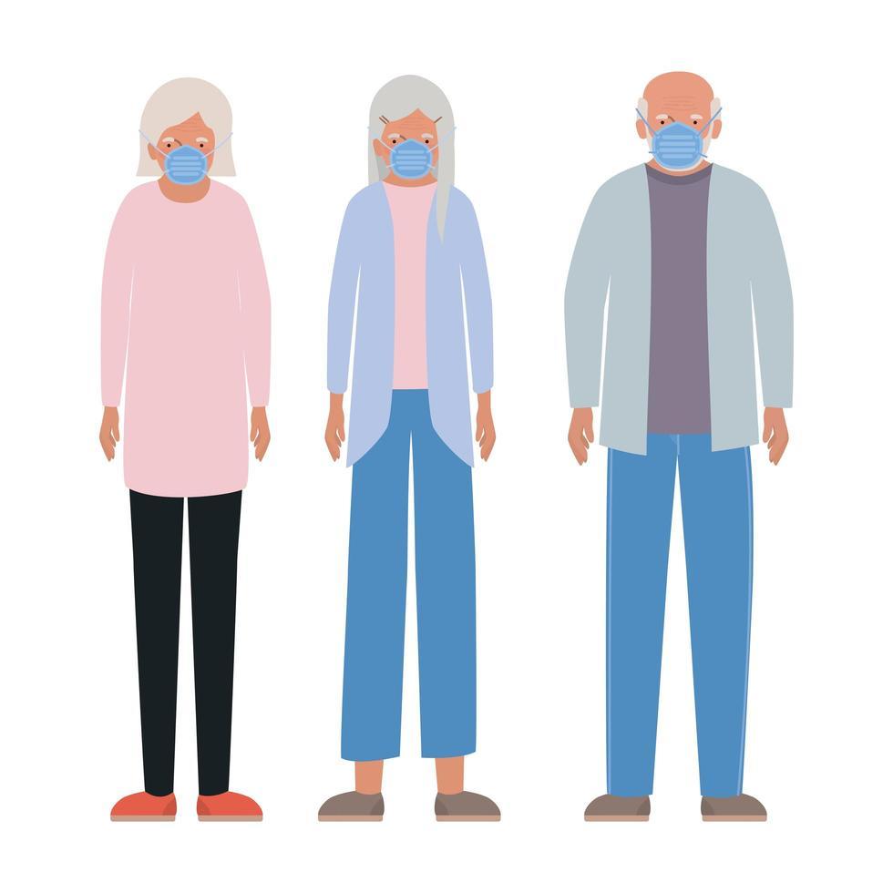 mujeres mayores y hombres con máscaras contra el diseño vectorial covid 19 vector