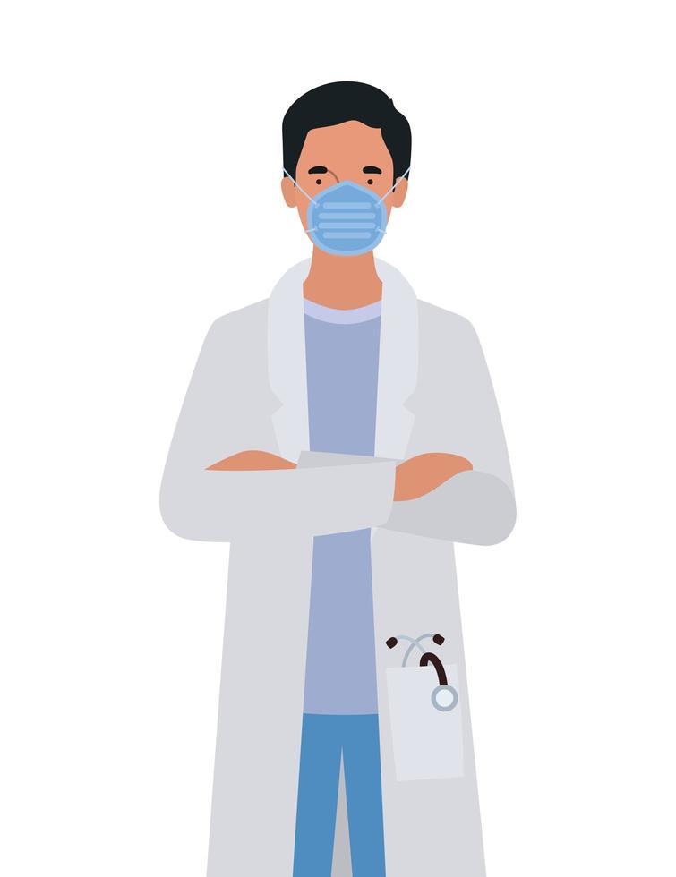Man doctor with mask against 2019 ncov virus vector design