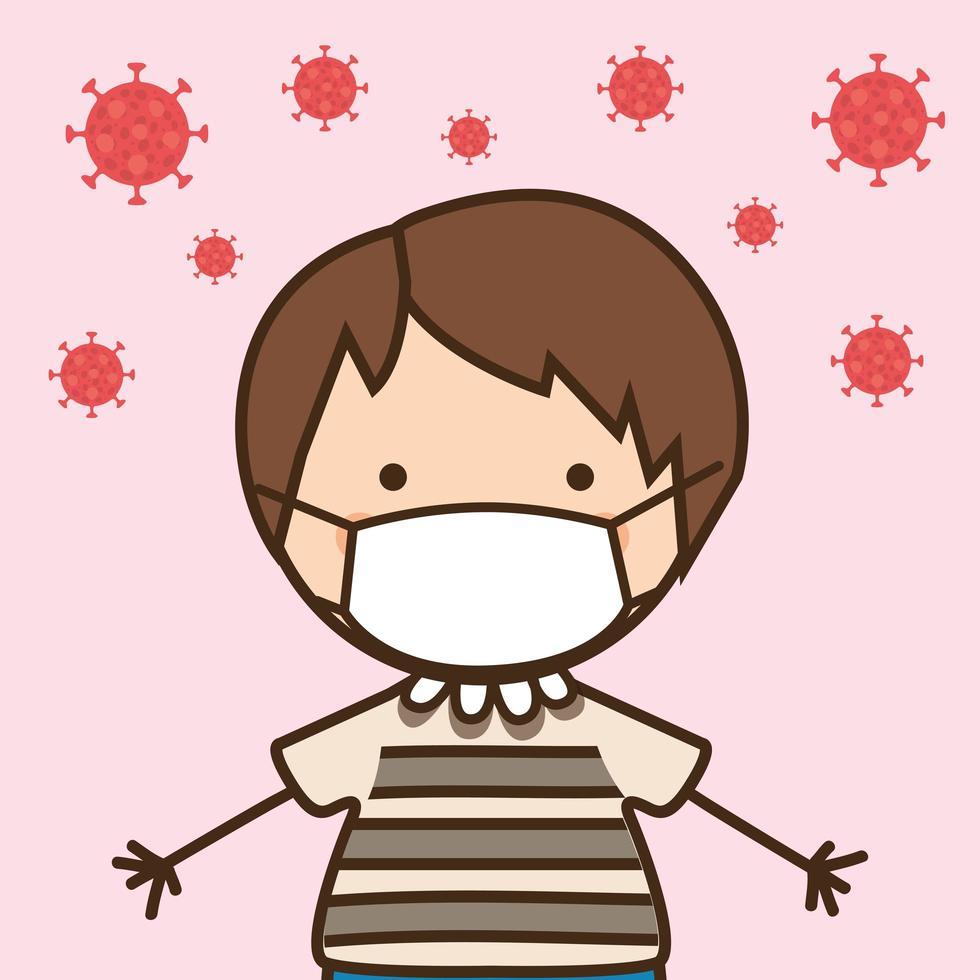 Boy kid with mask against 2019 ncov virus vector design