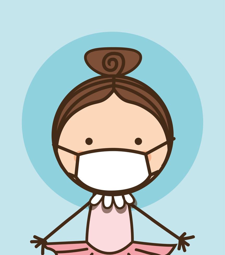 Girl kid with mask against 2019 ncov virus vector design