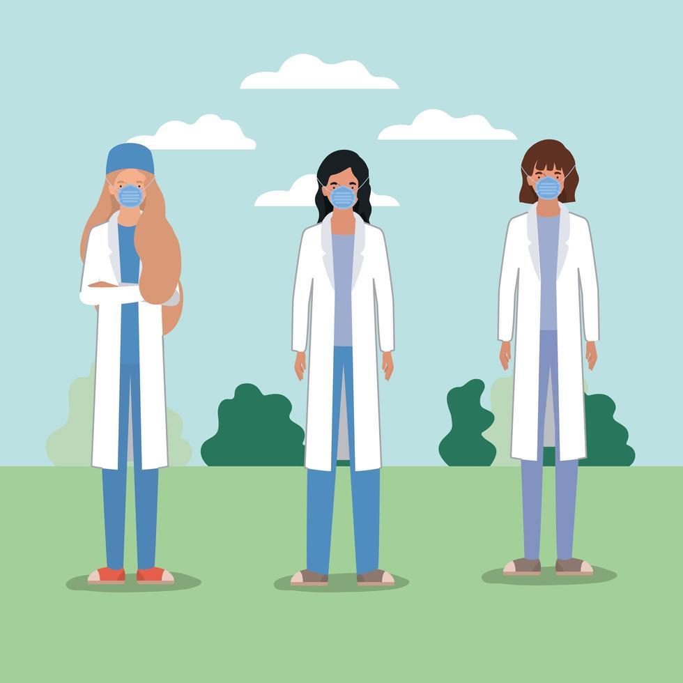 Doctoras con máscaras contra el diseño vectorial del virus ncov 2019 vector
