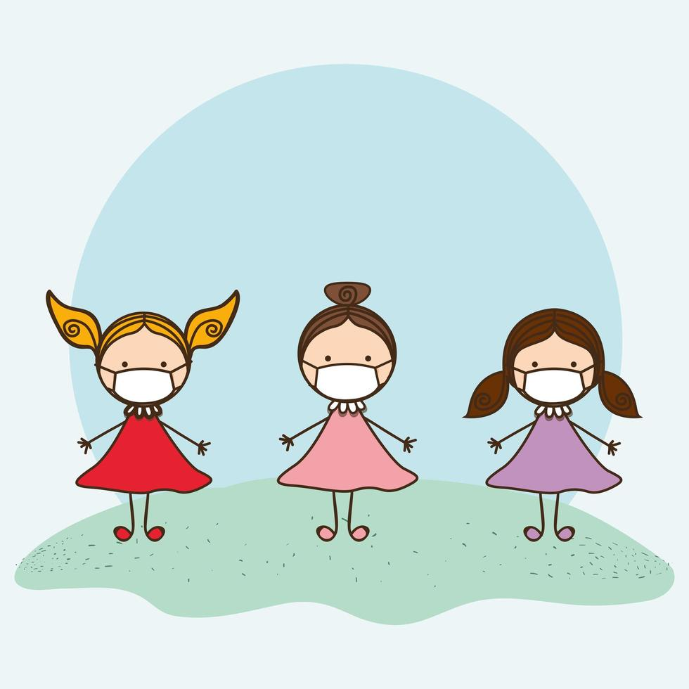 Girls kids with masks against 2019 ncov virus vector design