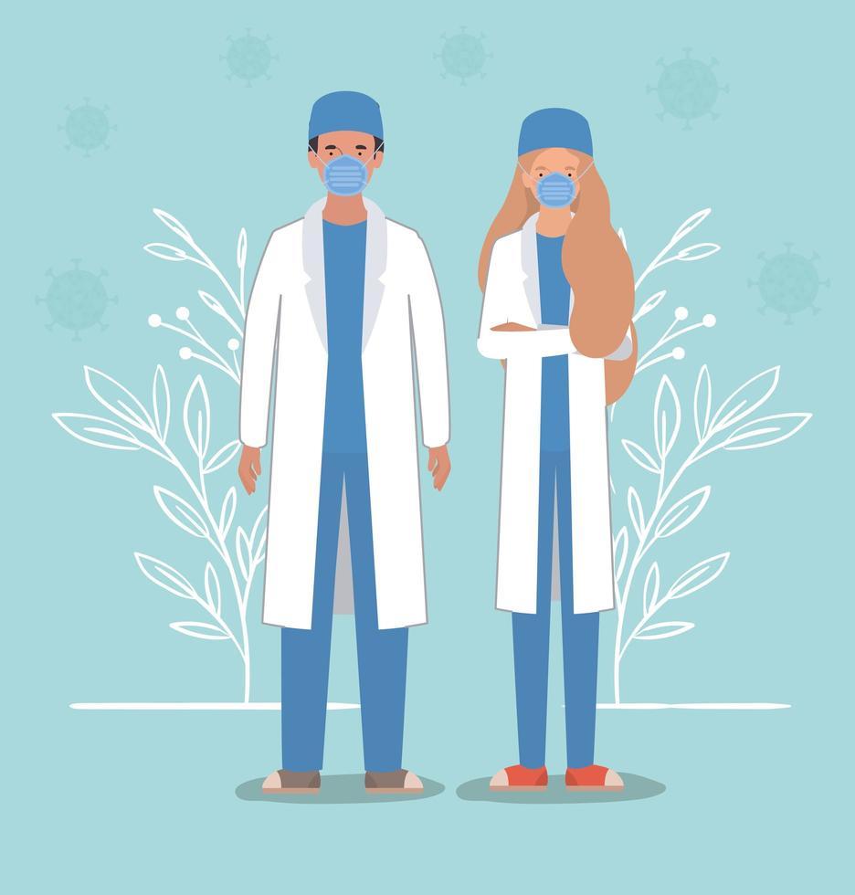 Doctores de mujer y hombre con máscaras contra el diseño vectorial del virus ncov 2019 vector