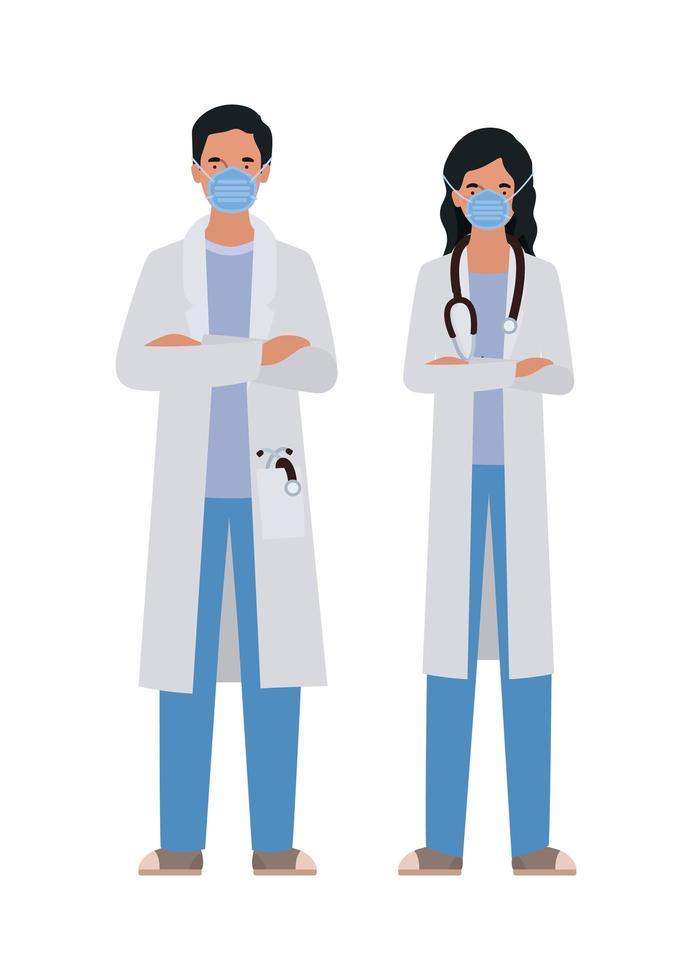 médicos de hombre y mujer con máscaras contra el diseño vectorial del virus ncov 2019 vector