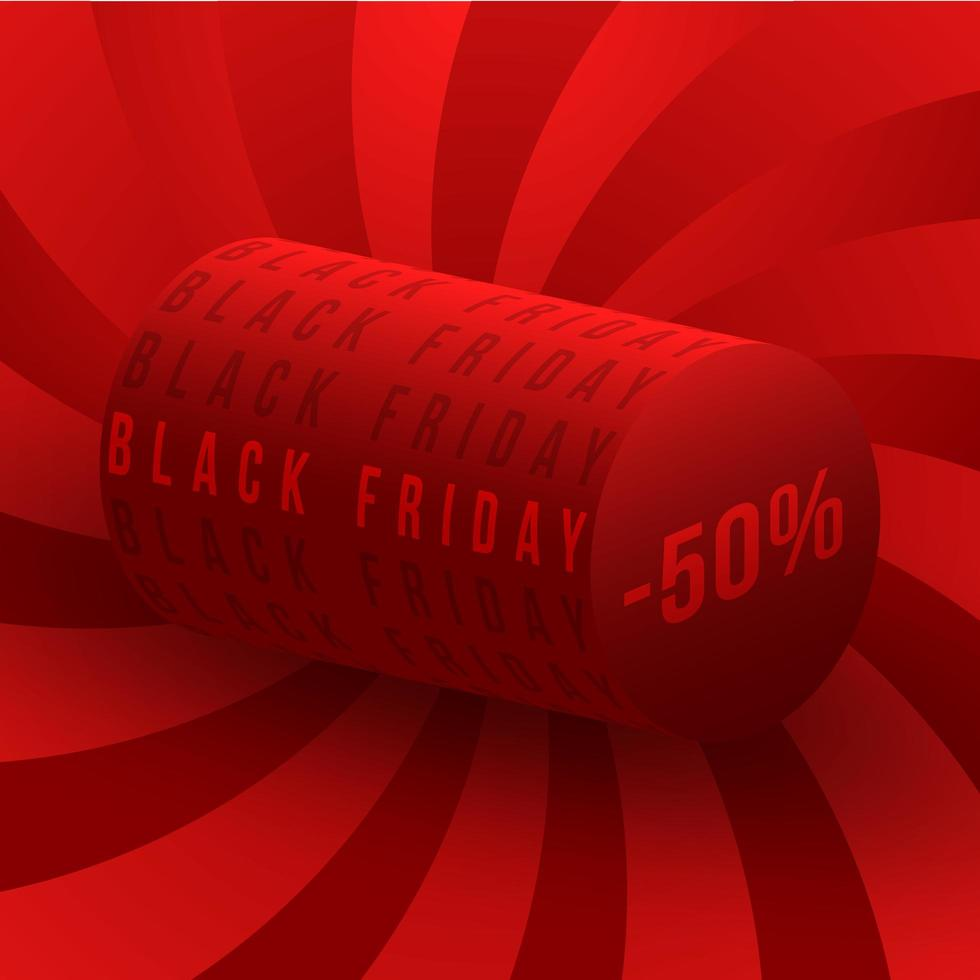 Black Friday discounts are 50 percent. Square red banner on Black Friday with lettering sale vector illustration