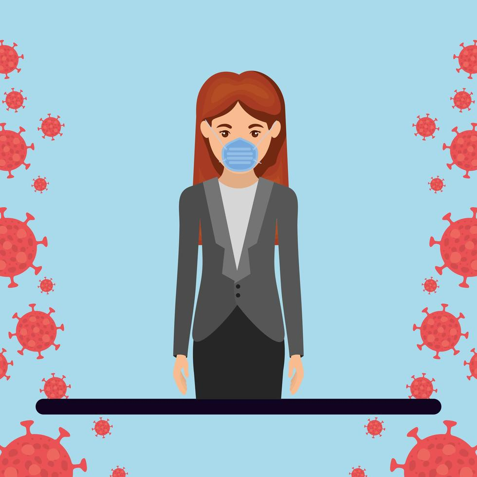 Businesswoman with mask against 2019 ncov virus vector design