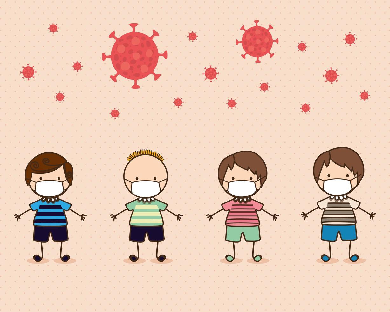 niños niños con máscaras contra el diseño vectorial de virus ncov 2019 vector