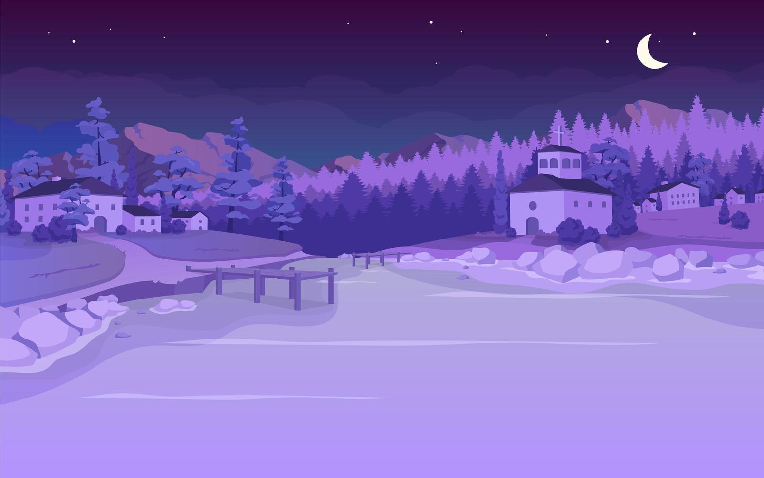 Nighttime lake in village flat color vector illustration