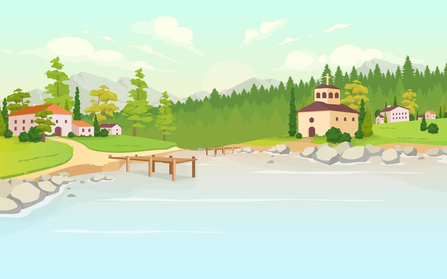 Daytime lake in village flat color vector illustration