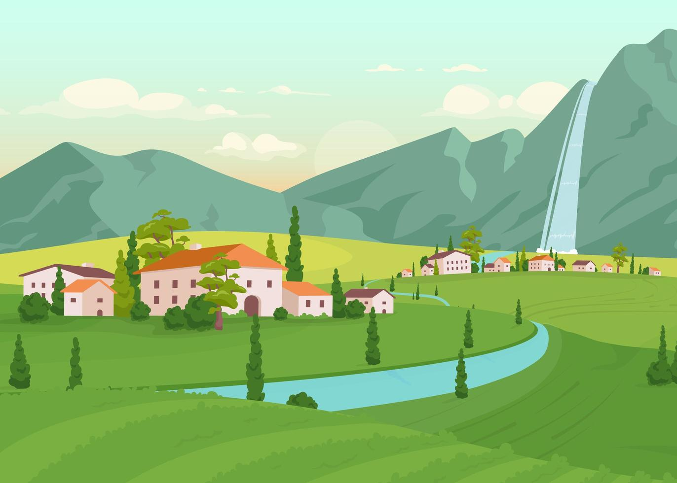 Tuscany scenery flat color vector illustration