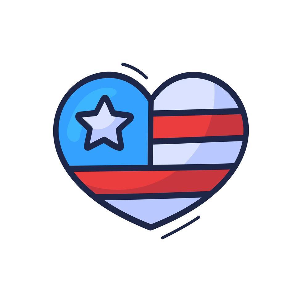 Dibujar a mano la bandera americana de dibujos animados en el signo de ilustración de vector de corazón. estilo de dibujo de contorno