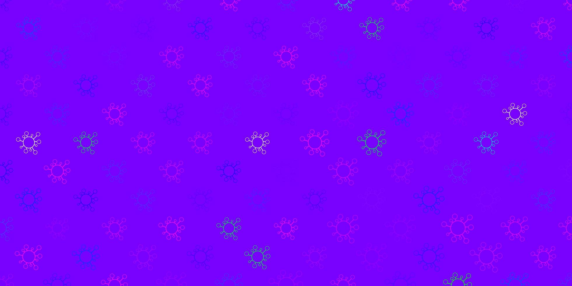 patrón de vector rosa oscuro, azul con elementos de coronavirus.