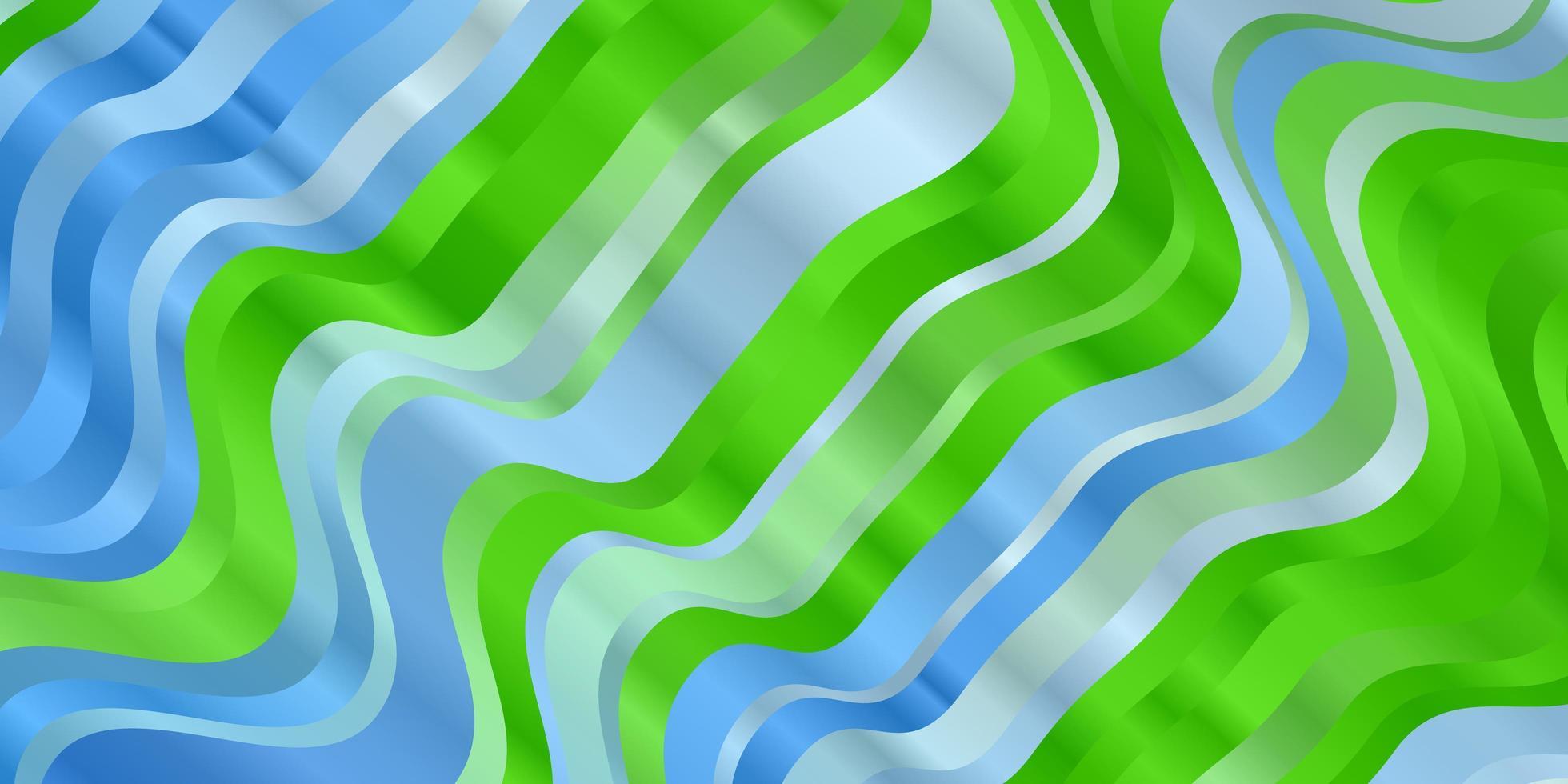 patrón de vector azul claro, verde con líneas torcidas.