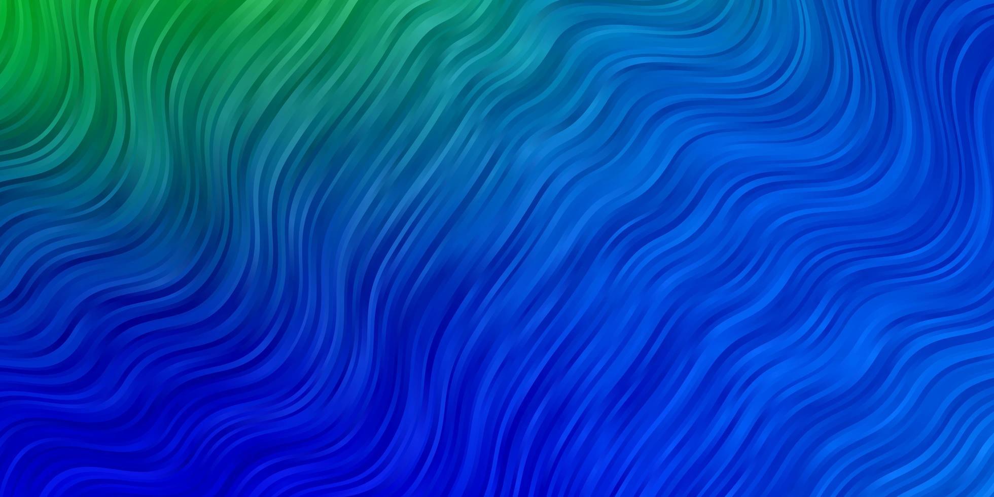 Fondo de vector azul claro, verde con líneas torcidas.