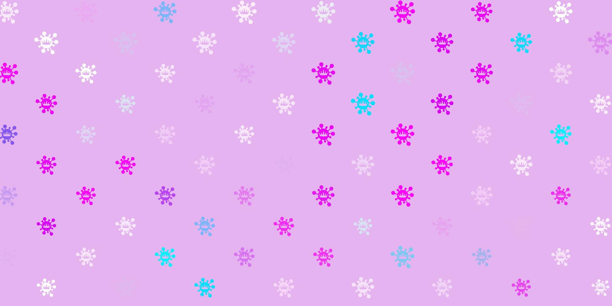 Light pink, blue vector backdrop with virus symbols