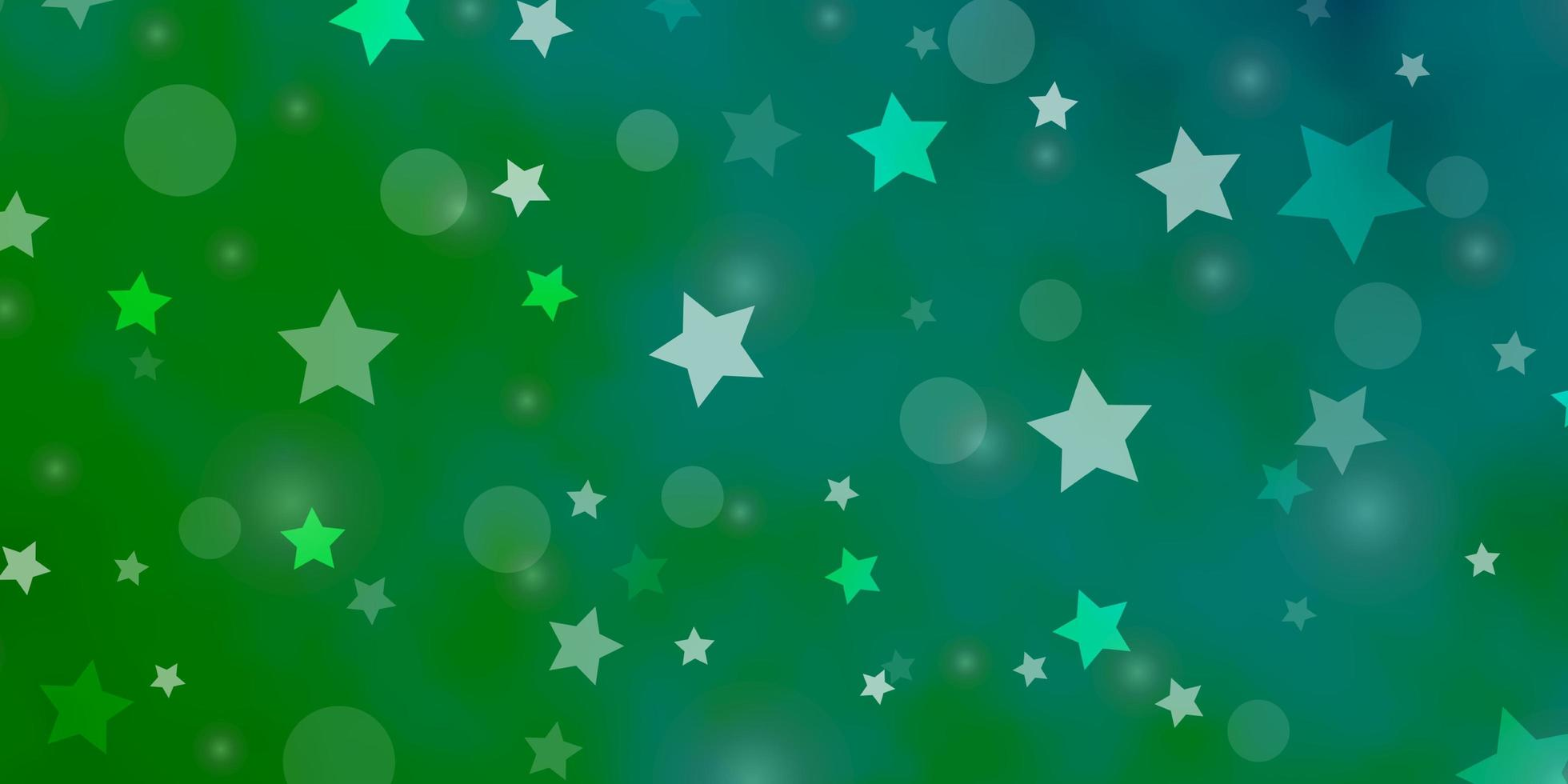 Fondo de vector azul claro, verde con círculos, estrellas.