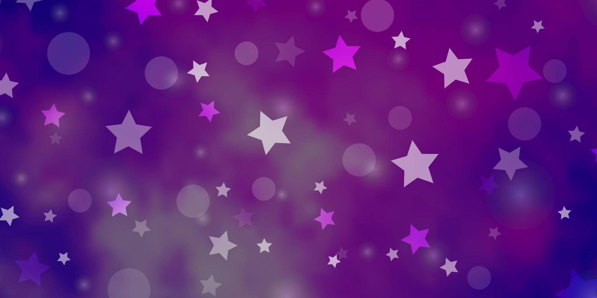 Fondo de vector púrpura claro con círculos, estrellas.