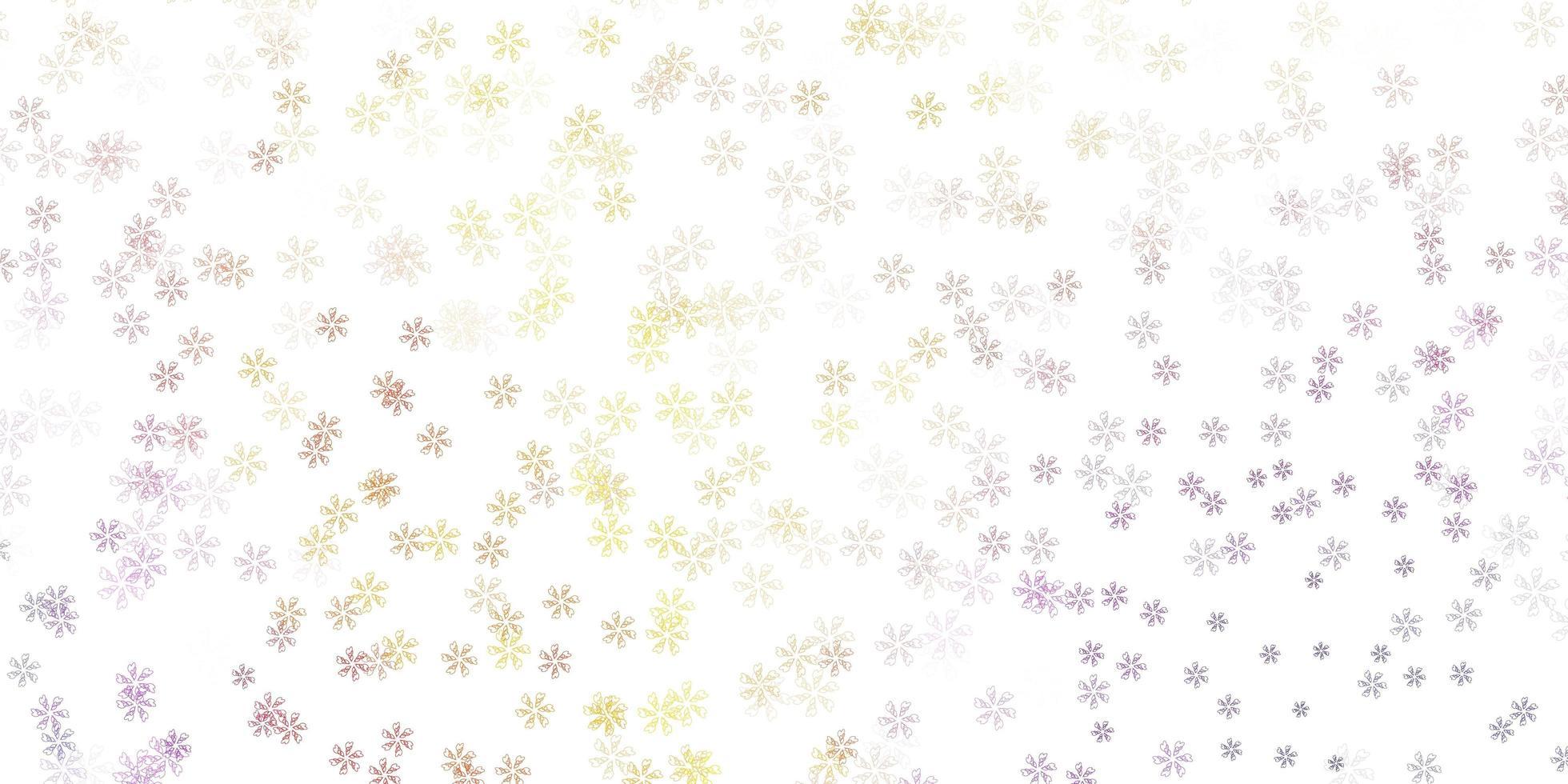 Fondo abstracto de vector rosa claro, amarillo con hojas.