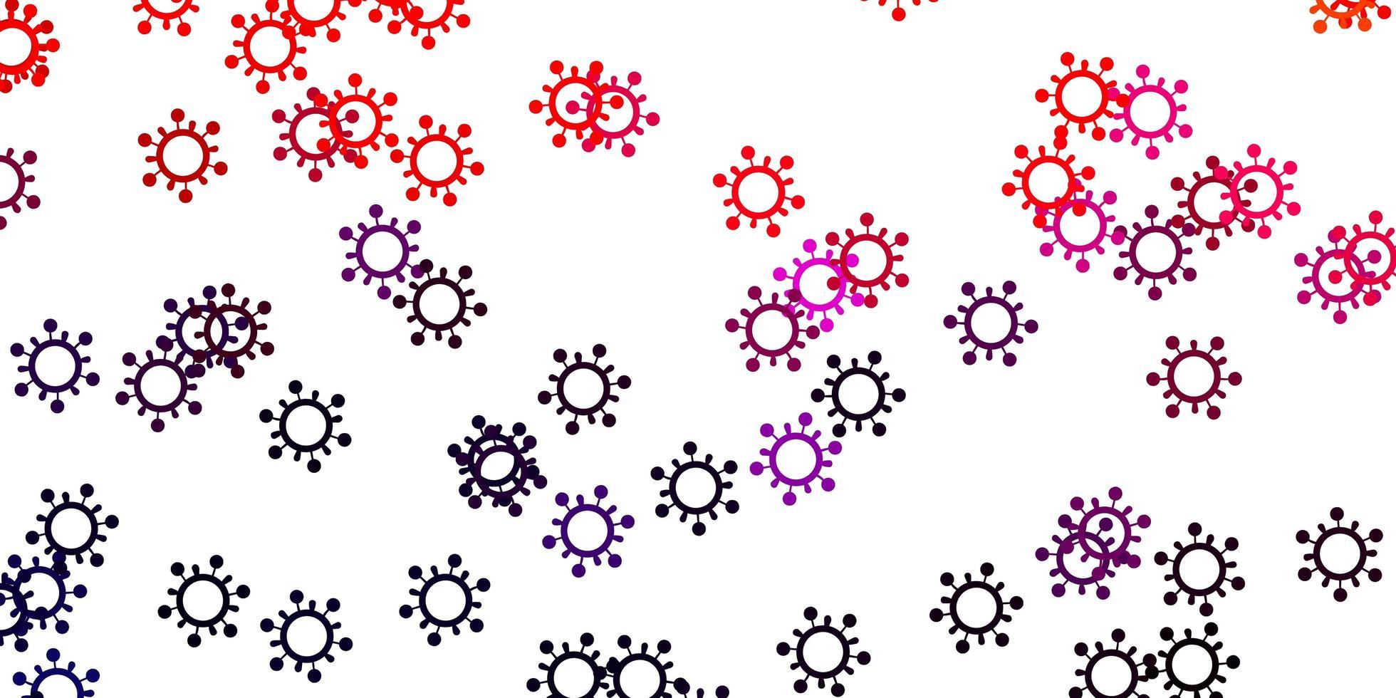 Fondo de vector rosa claro, rojo con símbolos de virus.