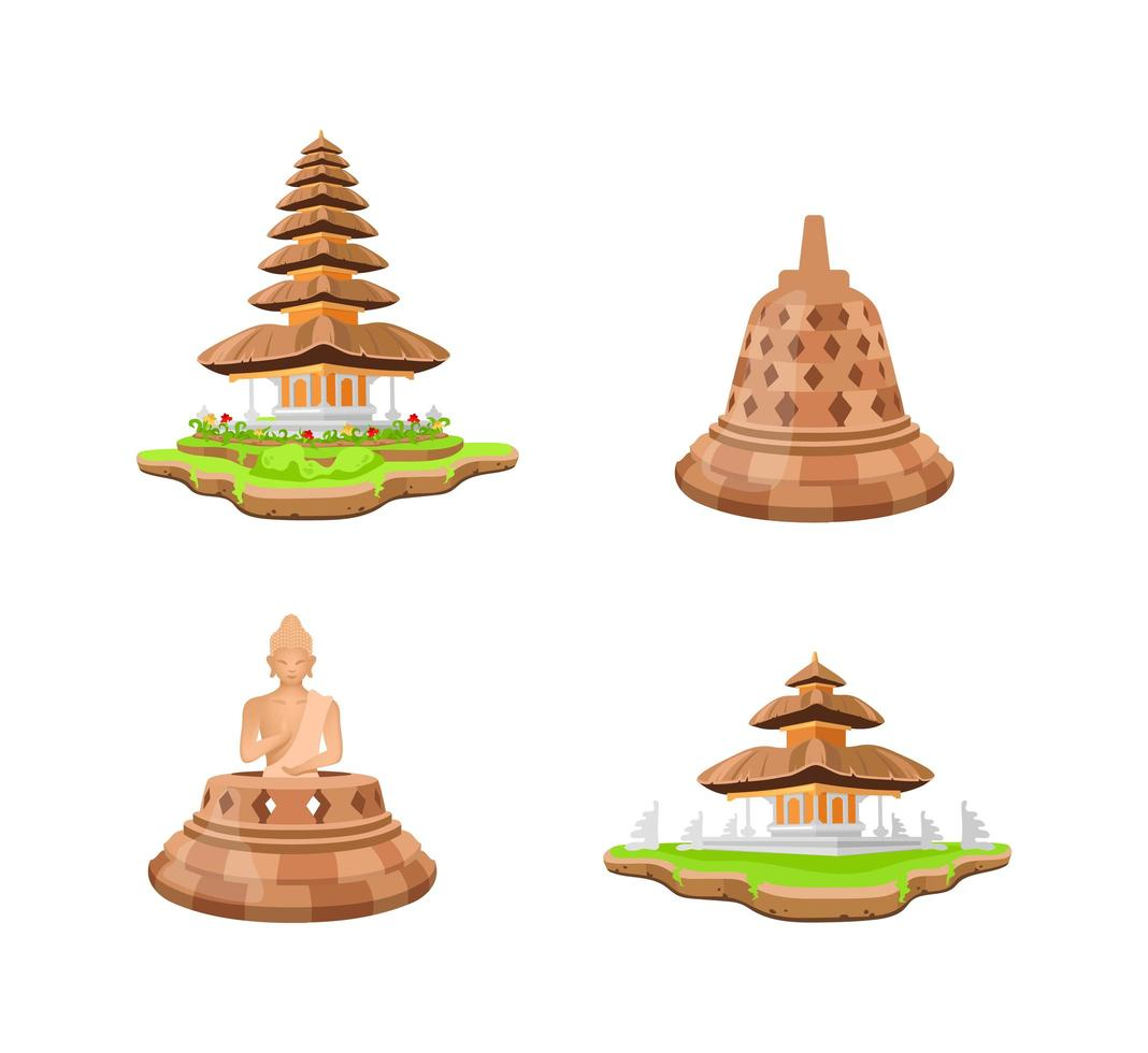 Indonesian temples objects set vector