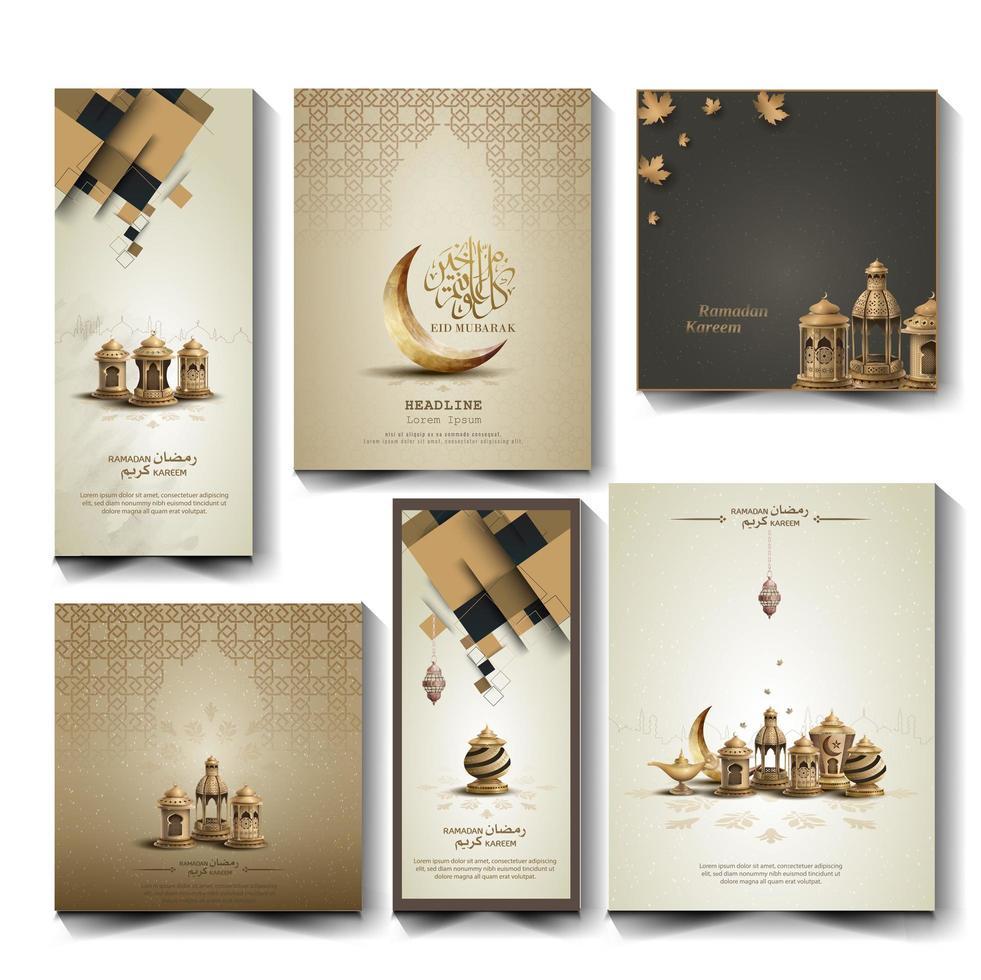 conjunto de saludos islámicos diseño de tarjeta de ramadan kareem vector