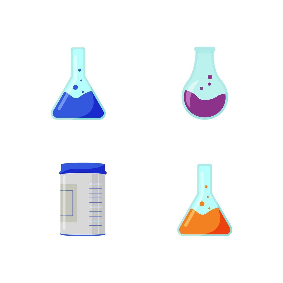 conjunto de objetos de contenedores químicos vector