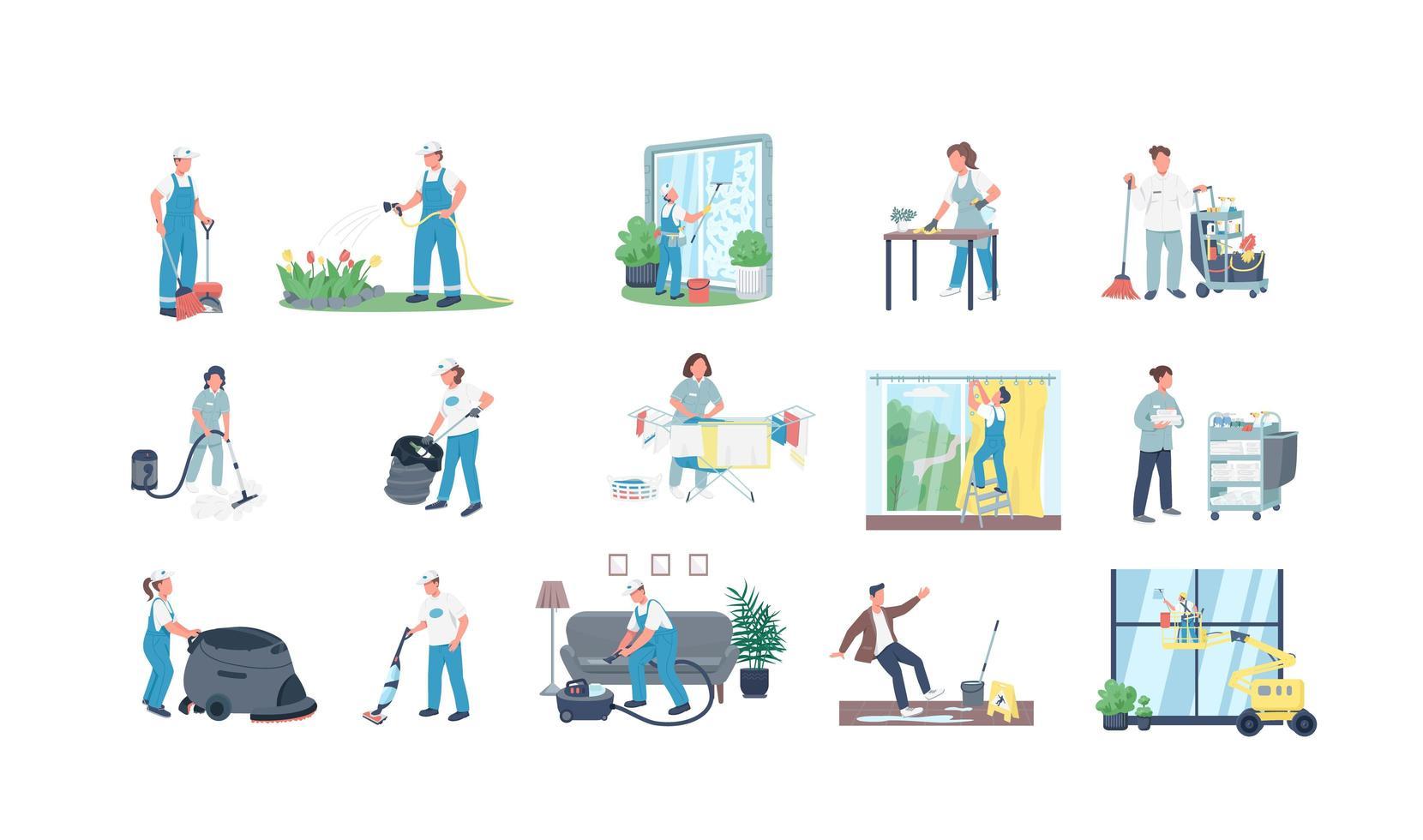 conjunto de caracteres de vector plano de limpiadores