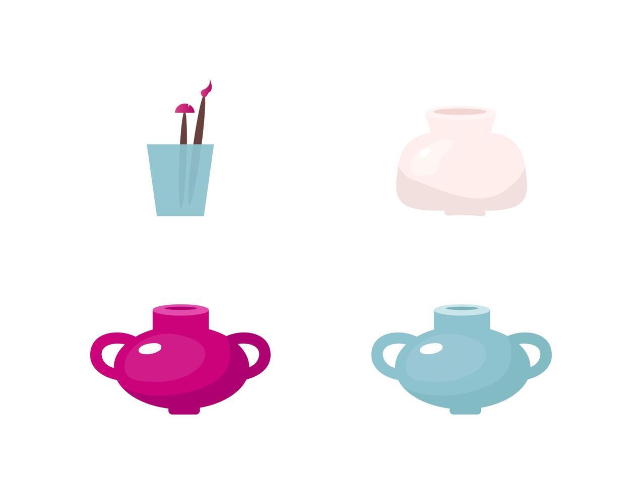 Pots flat vector objects set