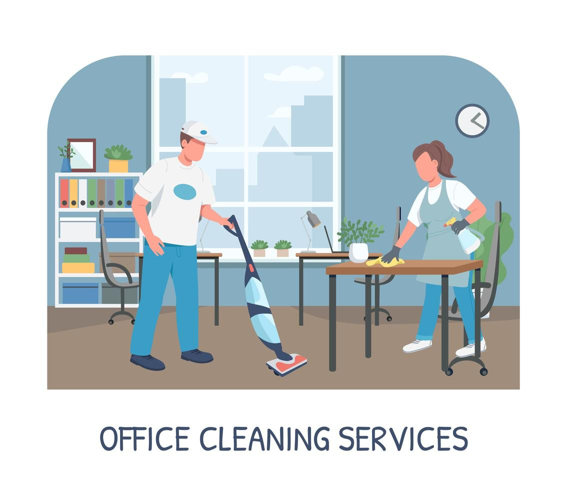 Office Cleaning Service Banner Flat Vector Template Download Free Vectors Clipart Graphics Vector Art