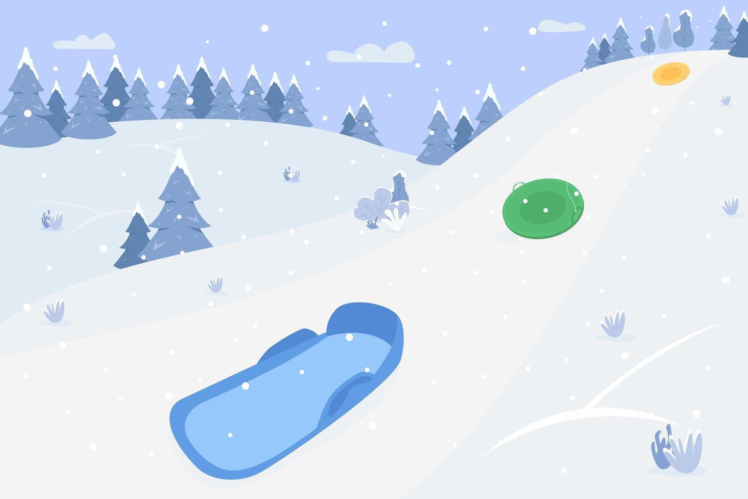 Colinas de nieve con trineos ilustración vectorial semi plana vector