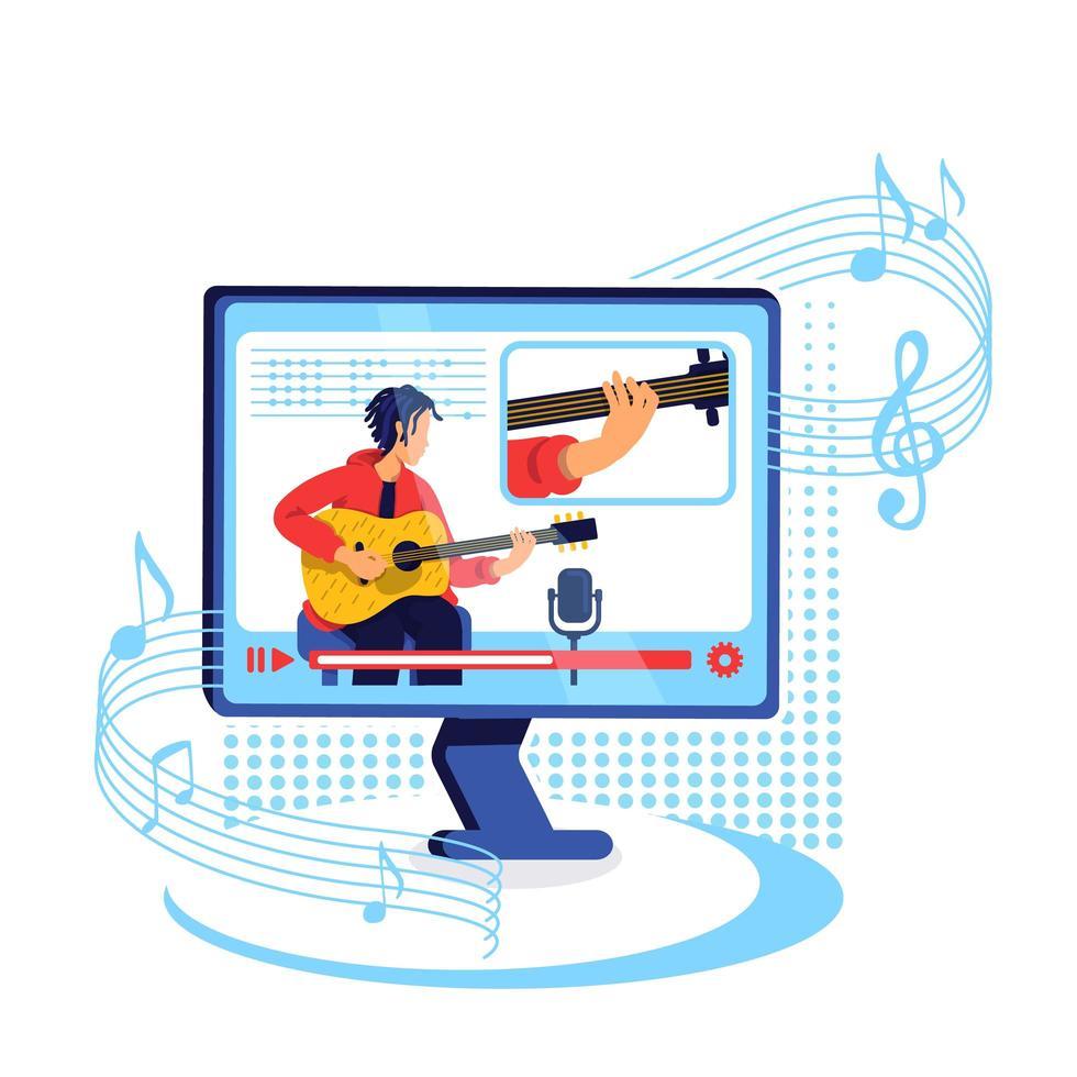 Ilustración de vector de concepto plano de tutorial de guitarra de Internet
