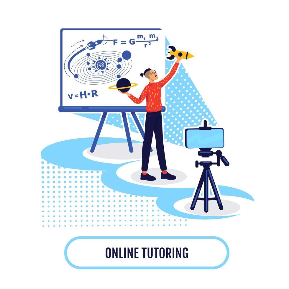 Ilustración de vector de concepto plano de aprendizaje académico en línea
