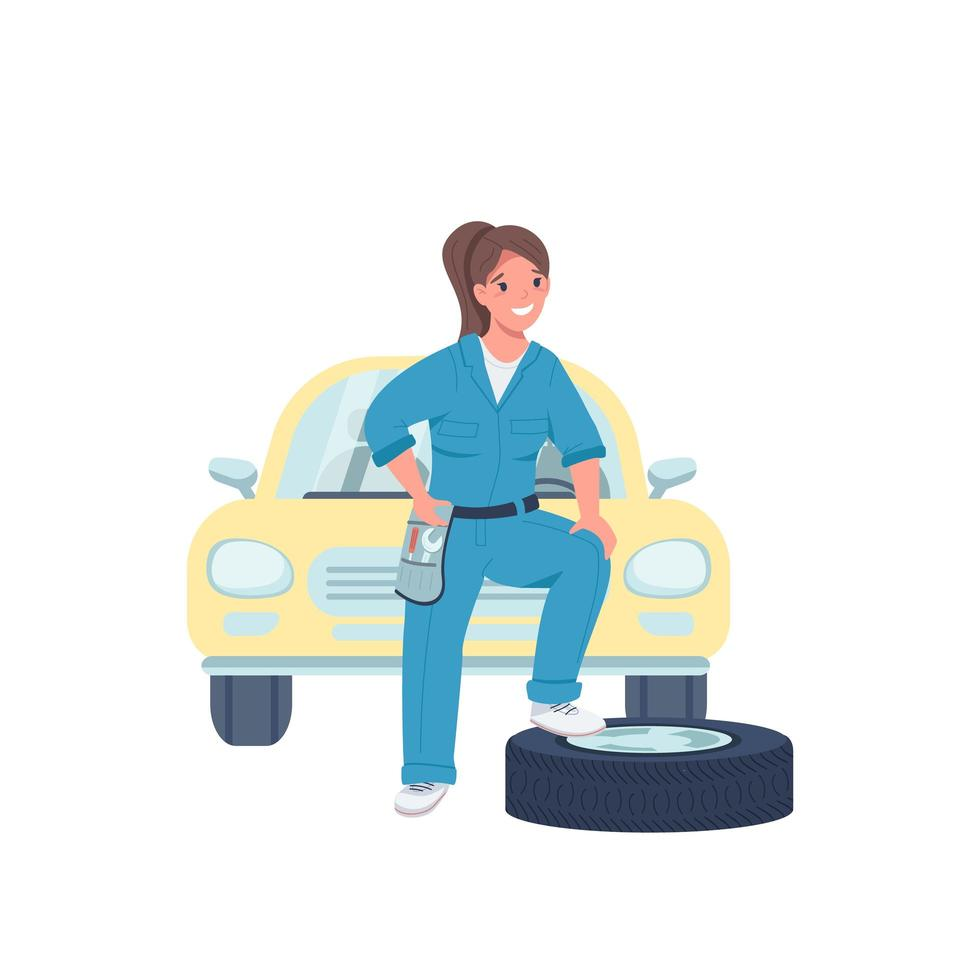 Woman car mechanic flat color vector detailed character