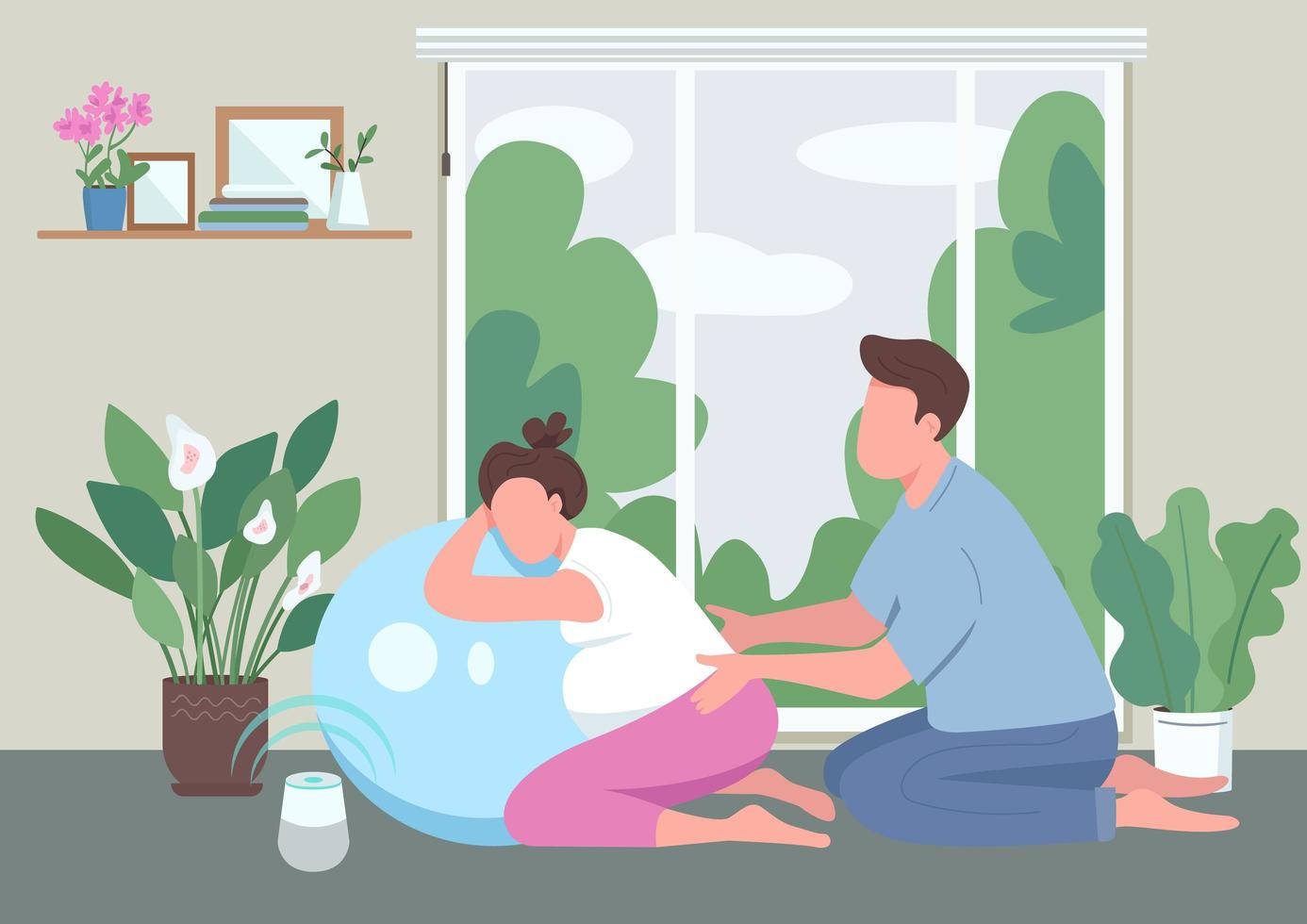 Message for pregnant woman flat color vector illustration