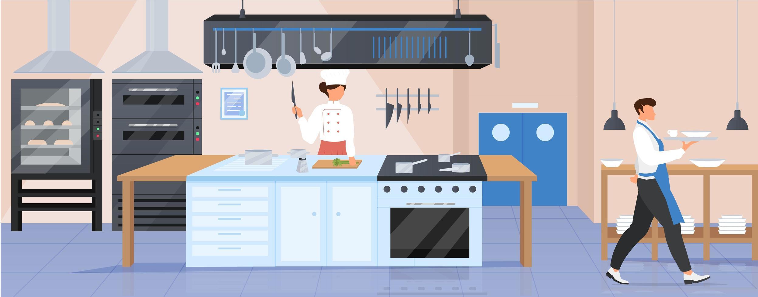 Restaurant kitchen flat color vector illustration