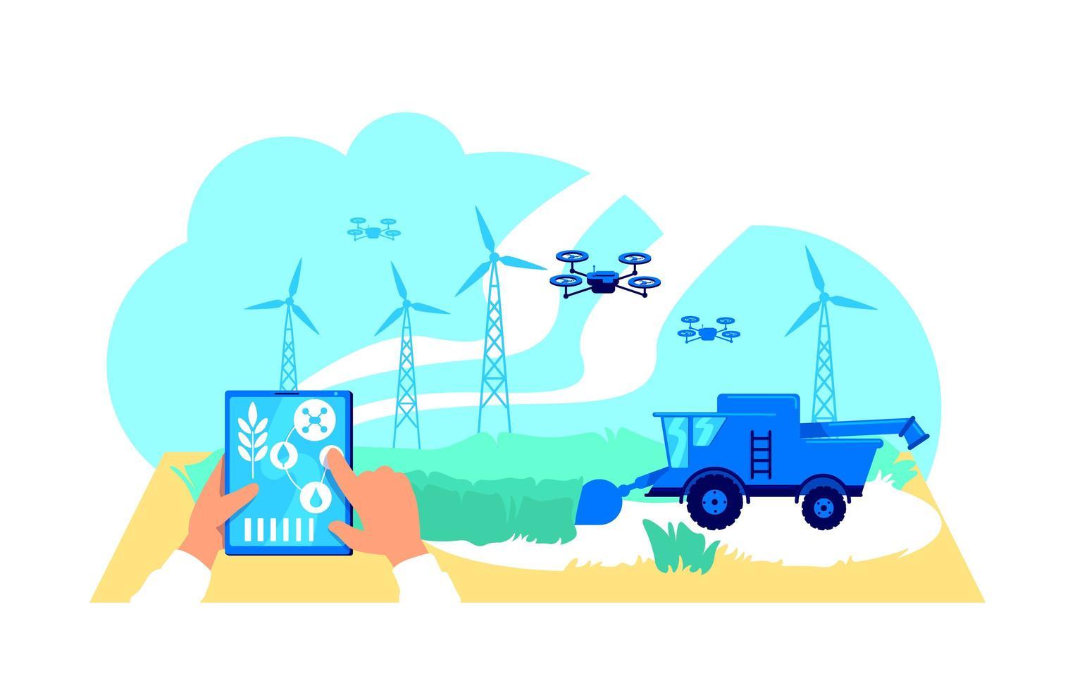 Futuristic agribusiness flat concept vector illustration