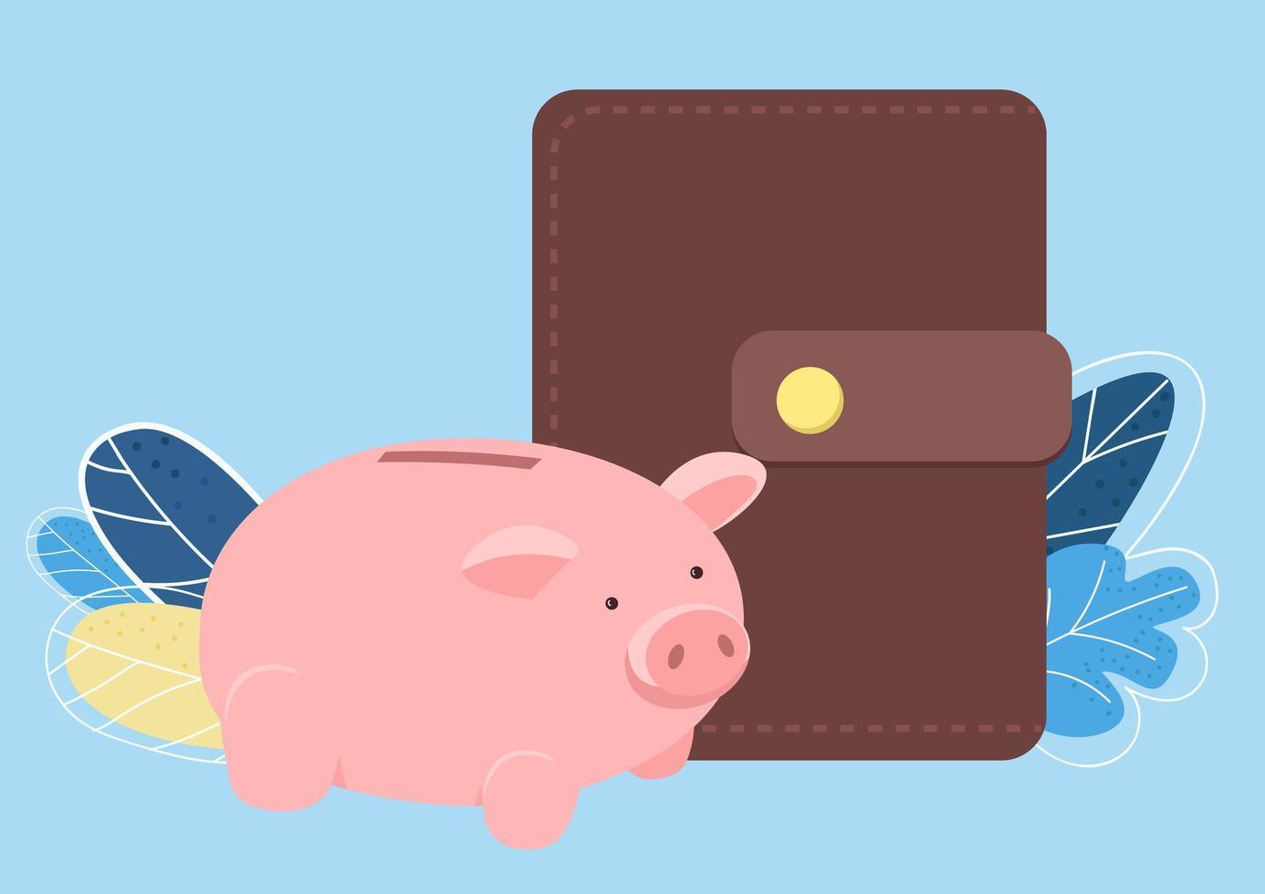 alcancía y billetera objeto vectorial de color plano vector
