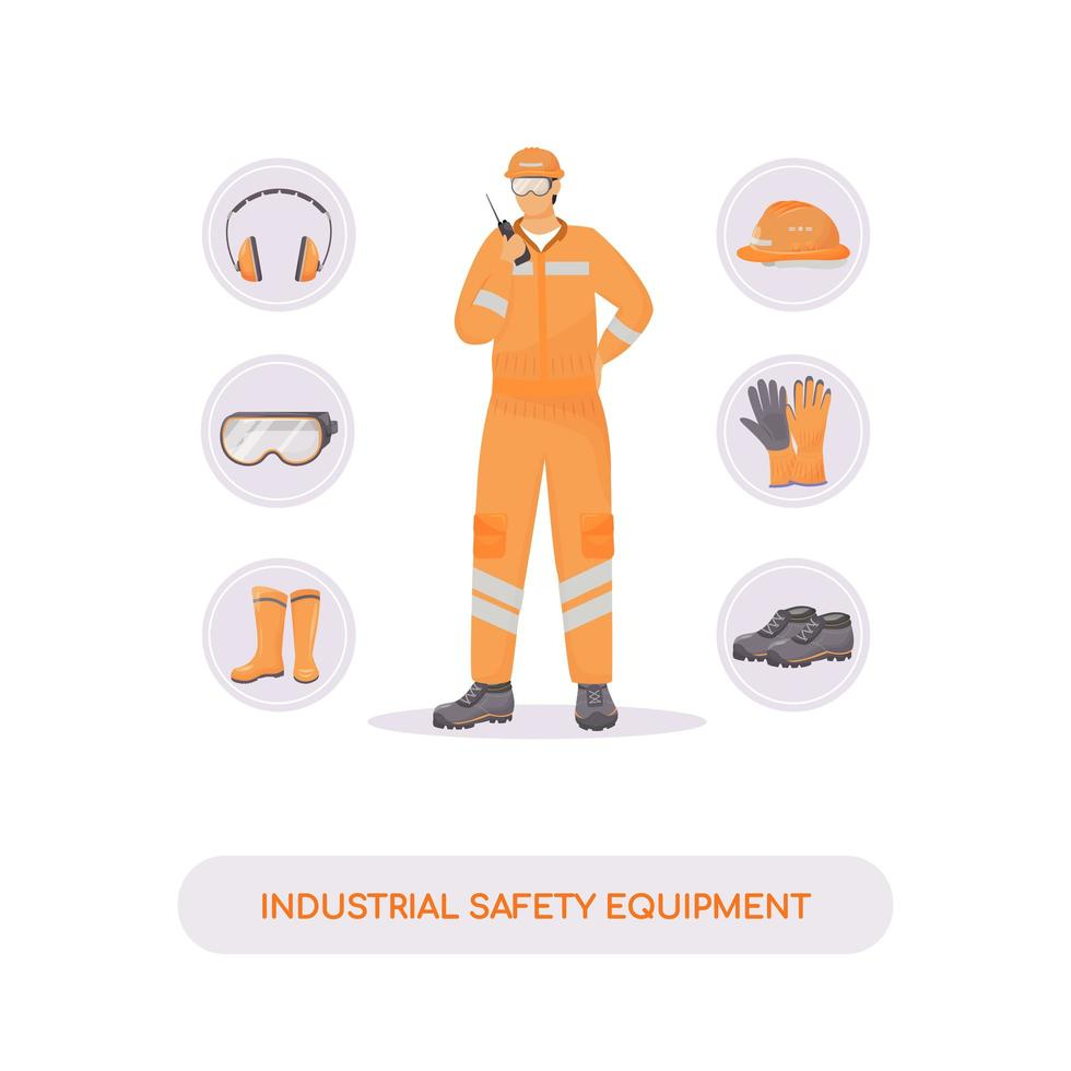 Industrial safety equipment flat concept vector illustration