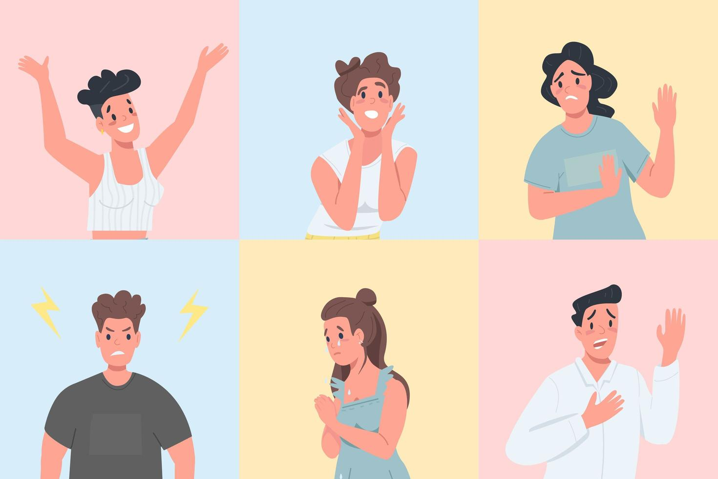 Different emotional expressions flat color vector faceless character set