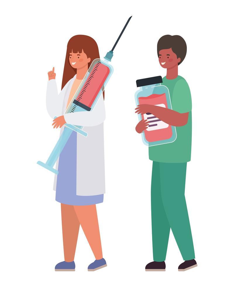 Médico de mujer y hombre con inyección uniforme y diseño de vector de tarro de medicina