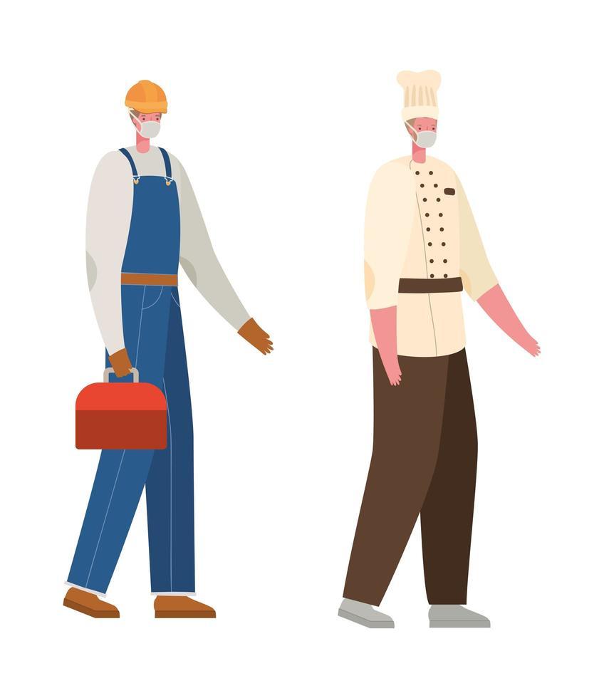 constructor masculino y chef con máscaras de diseño vectorial vector